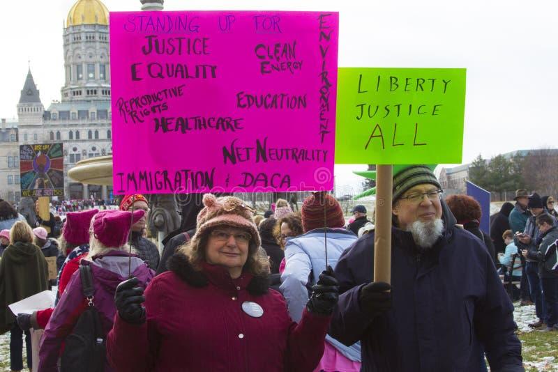 Hartford mulheres ` s março de 2018 imagem de stock