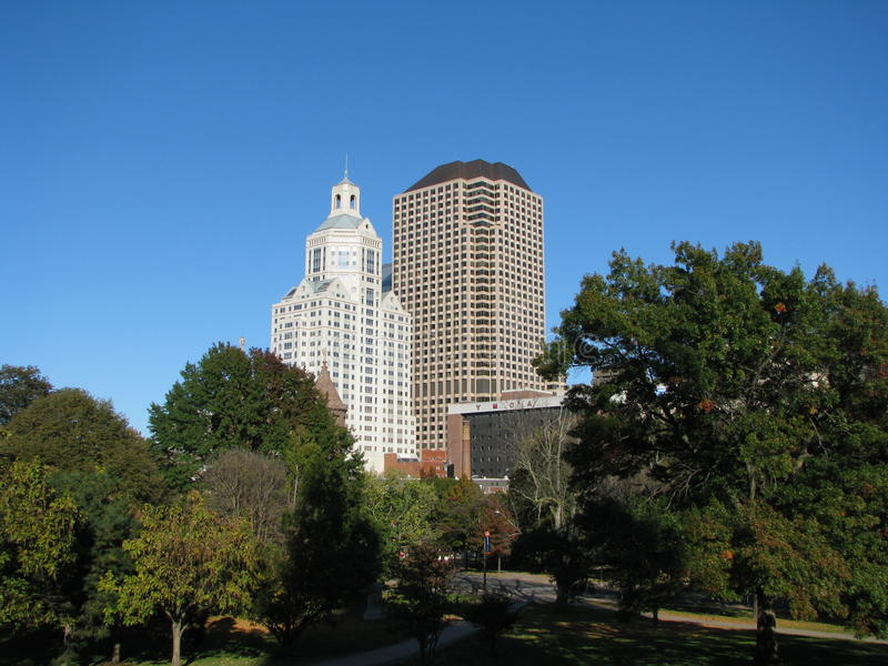 Hartford skyline in autumn royalty free stock photo