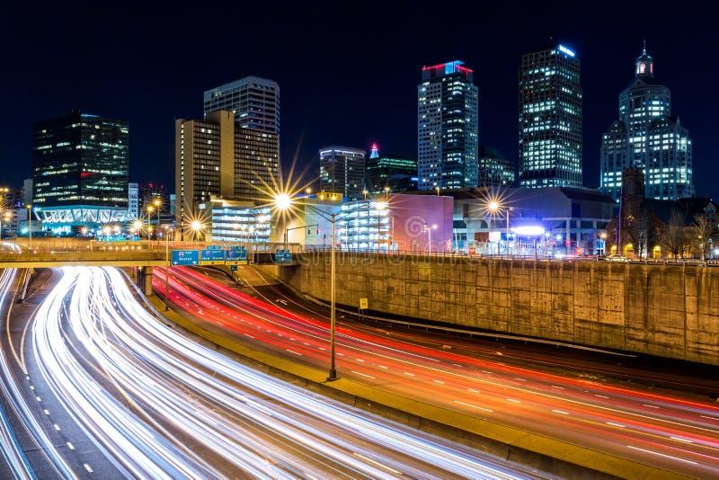 Hartford skyline by night royalty free stock photos