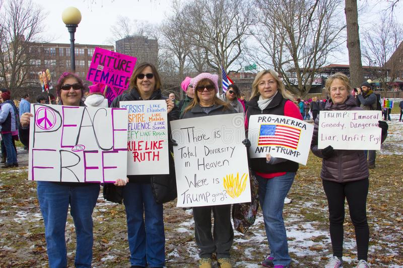 Hartford Women`s March 2018. The Women`s March in Hartford, CT. that was held on January 20, 2018. Women and men from across Connecticut came together to speak stock photography