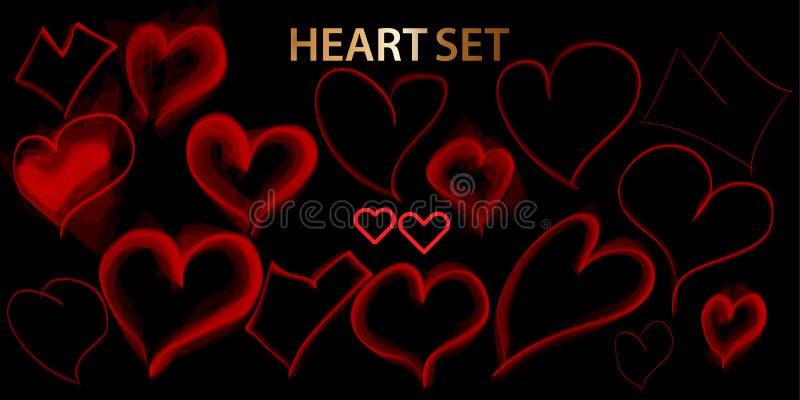 Harthand getrokken pictogrammen geplaatst die op zwarte achtergrond worden geïsoleerd Harten voor website, affiche, aanplakbiljet stock illustratie