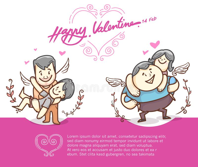 Hartkader en karakter, getrokken hand, hartenvorm De elementen van het de dagontwerp van Valentine ` s vector en krabbel stock illustratie