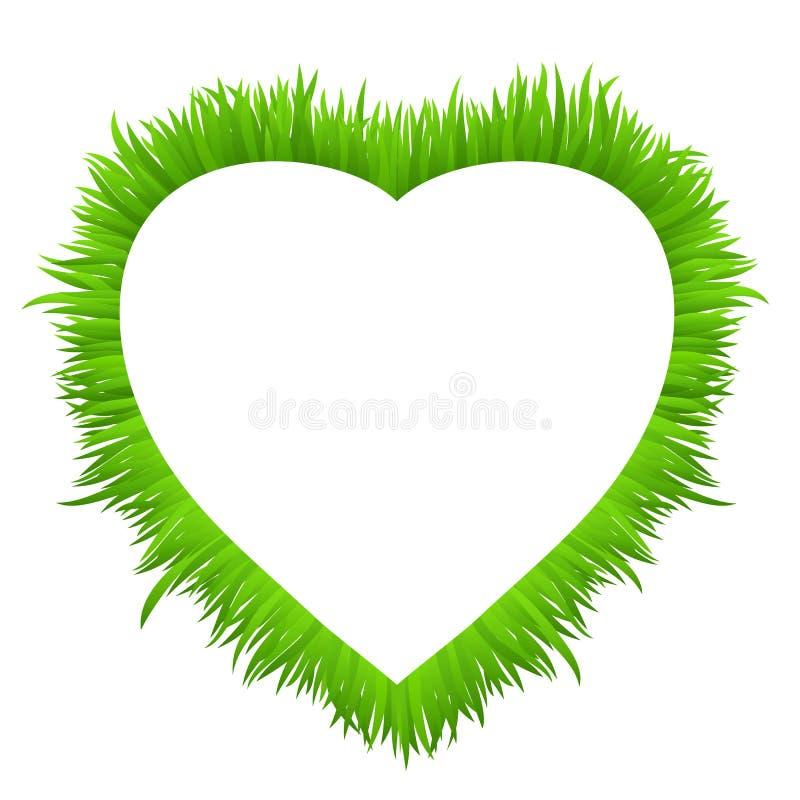 Hartkader van gras op wit wordt gemaakt dat De verse lente, grens van het de zomer de groene gras voor uw ontwerp royalty-vrije illustratie