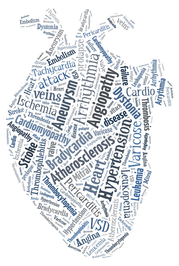Hartkwaal Cardiovasculaire ziekte Hart van woorden Arrythmia vector illustratie