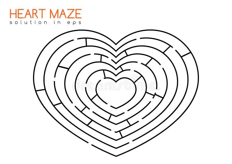 Hartlabyrint met oplossing stock illustratie