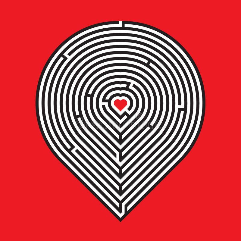 Hartlabyrint op rode achtergrond royalty-vrije illustratie