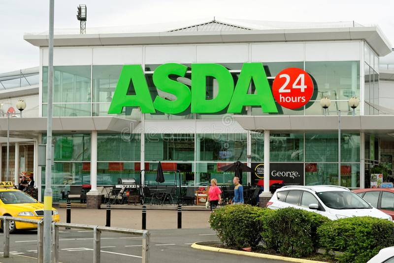 Asda superstore in Hartlepool, England. HARTLEPOOL, ENGLAND - JUNE 30, 2016: Asda Superstore exterior. Asda is the UK`s second largest chain by market share stock photos