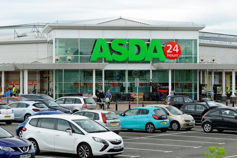 Asda superstore in Hartlepool, England. HARTLEPOOL, ENGLAND - JUNE 30, 2016: Asda Superstore exterior. Asda is the UK`s second largest chain by market share stock images