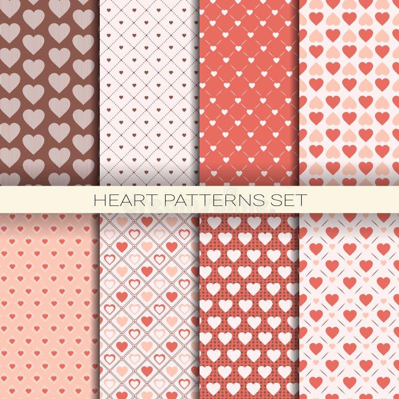 Hartpatronen Geplaatst Retro Naadloze Achtergronden voor Valentine Day vector illustratie