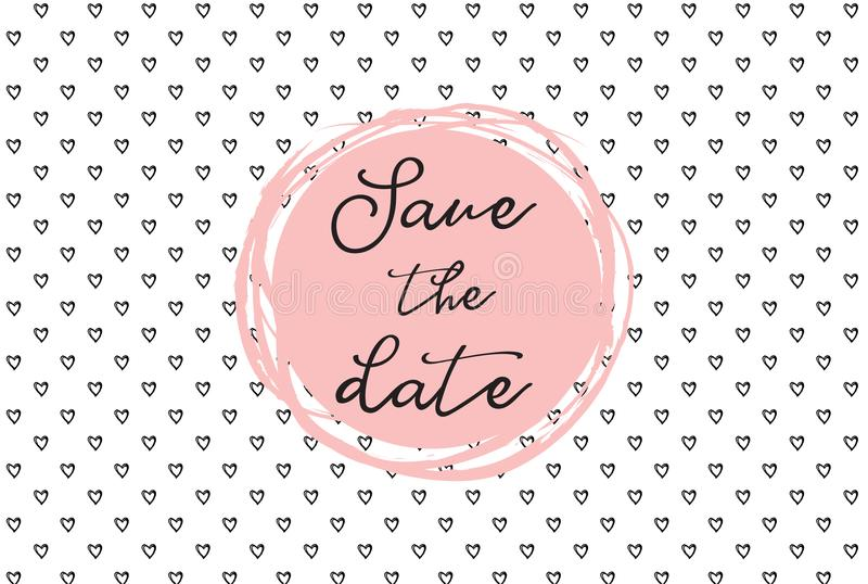 Hartpatroon, hand getrokken pictogrammen en illustraties voor valentijnskaarten en huwelijk Sparen het malplaatje van de datumuit vector illustratie