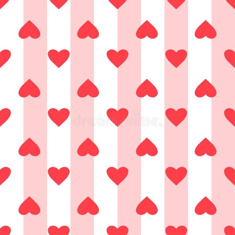 Hartpatroon Liefde naadloze gestreepte achtergrond Geweldig voor Valentijnsdag, bruiloft Herhaald ontwerp van vector Cartoon flat stock illustratie