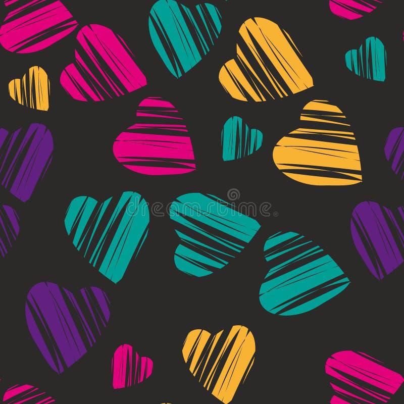 Hartpatroon, vector naadloze achtergrond Decoratieve illustratie, goed voor druk Kleurrijke behangvector Groot voor labe vector illustratie