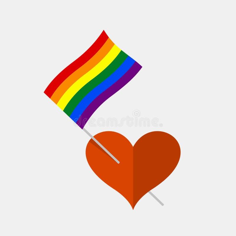 Hartpictogram met de vlag van de regenboog lgbt trots stock illustratie