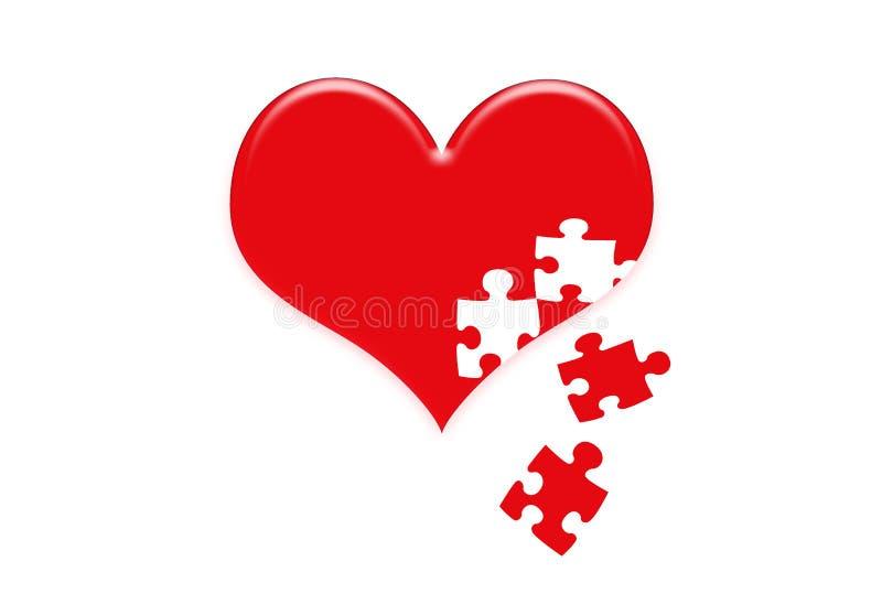 Hartpuzzel in het rode hart royalty-vrije illustratie