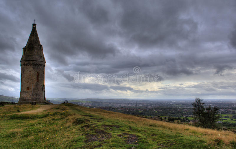 Hartshead Pike. Ashton-under-Lyne, overlooking Manchester and beyond in the far distance stock photos