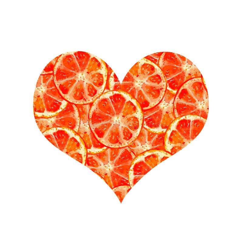 Hartsinaasappelen royalty-vrije illustratie