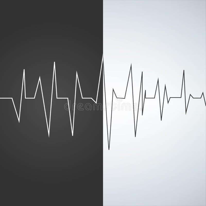 Hartslag - de Vectorlijn van de pictogramhartslag op zwart-witte achtergrond vector illustratie