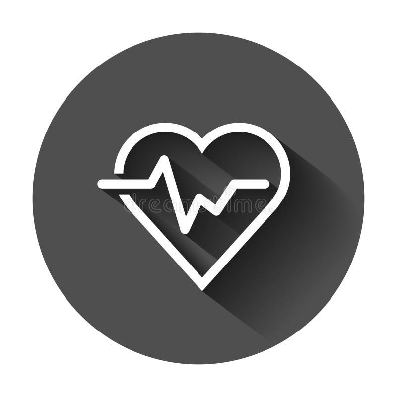 Hartslaglijn met hartpictogram in vlakke stijl Hartslagillustra vector illustratie