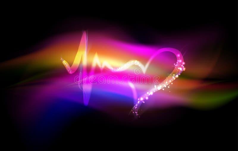 Hartslagsymbool, abstracte liefde en het levens kleurrijke achtergrond vector illustratie