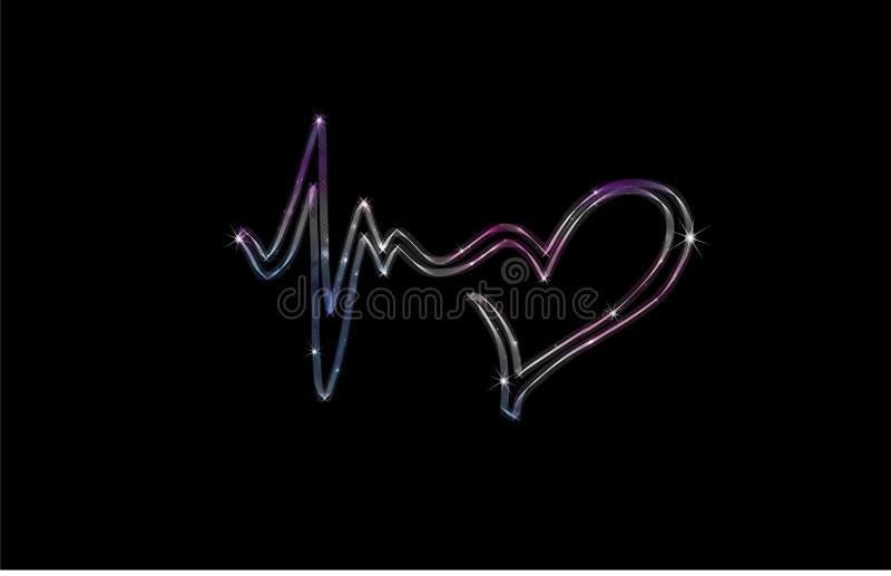 Hartslagsymbool, abstracte liefde en het levenspictogram stock illustratie