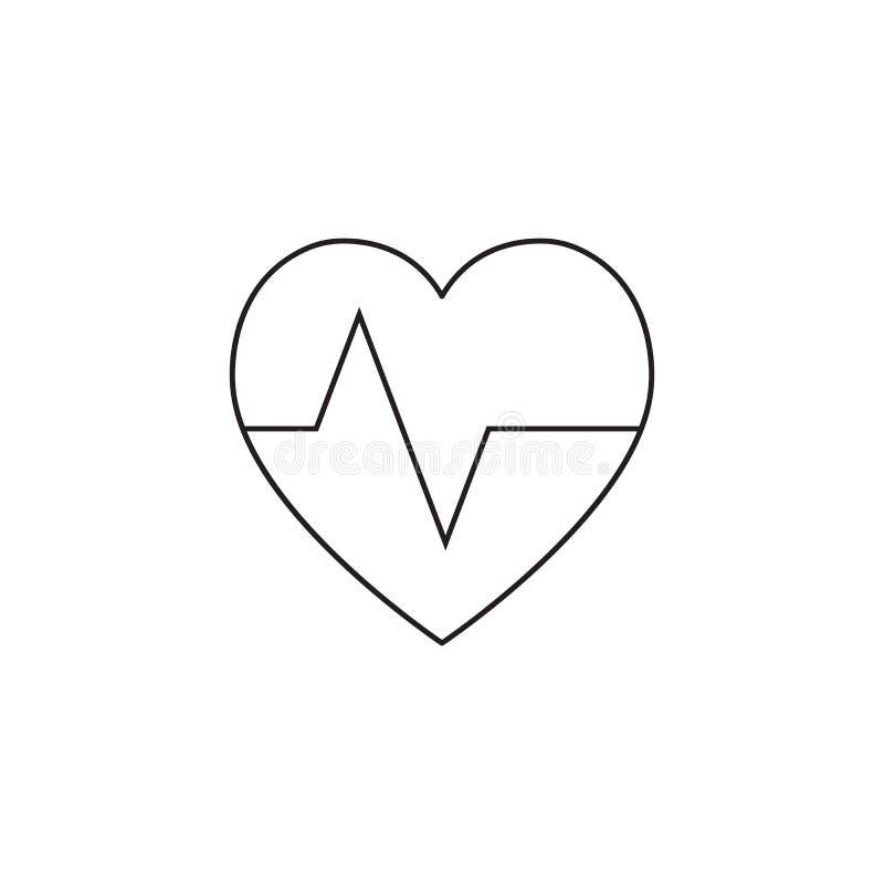 Hartslagsymbool het hart sloeg het pictogram van de impulslijn, schetst vectorlogboek vector illustratie