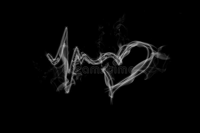 Hartslagsymbool met rook, abstracte liefde en het levenspictogram royalty-vrije illustratie