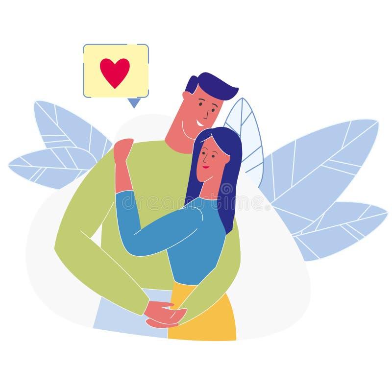 Hartstochtelijke het paar omhelst Vlakke Vectorillustratie royalty-vrije illustratie