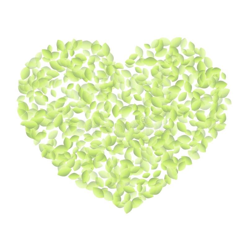 Hartsymbool met groene bladeren wordt gevuld dat Ecoveganist ge stock illustratie