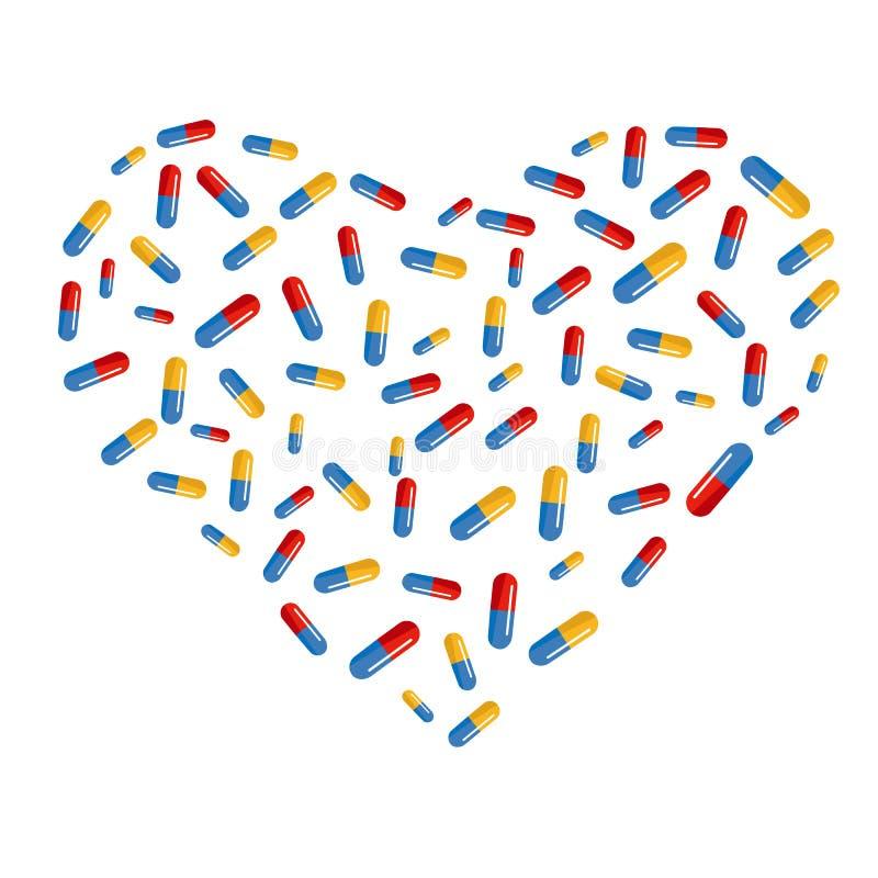 Hartsymbool van pillen wordt gecreeerd die vector illustratie
