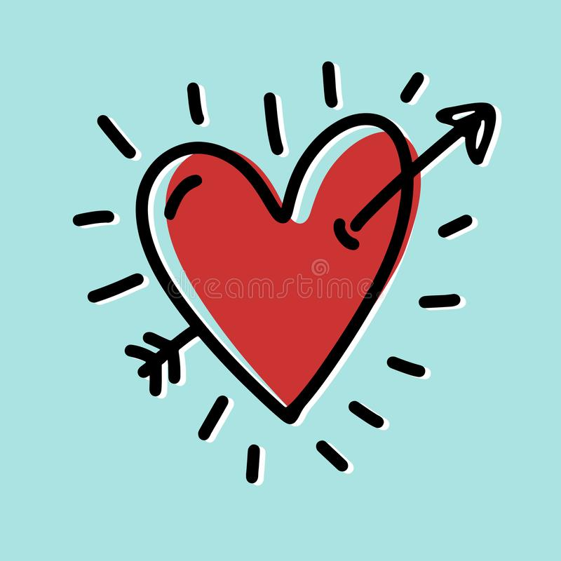 Harttekening met pijl, grappige stijl Tellers en vlakke kleuren Hart van rode kleur Voor de Dagbevorderingen van Valentine, uitno royalty-vrije illustratie