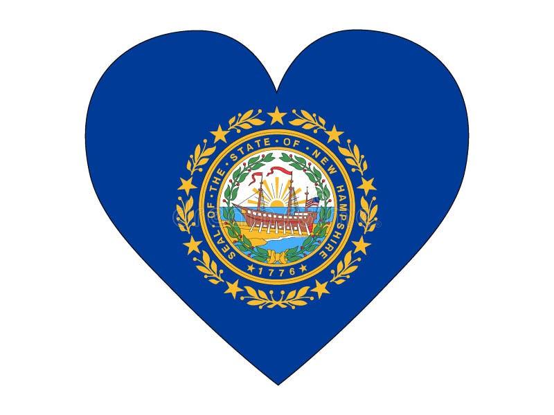 Hartvlag van de Staat van de V.S. van New Hampshire stock illustratie
