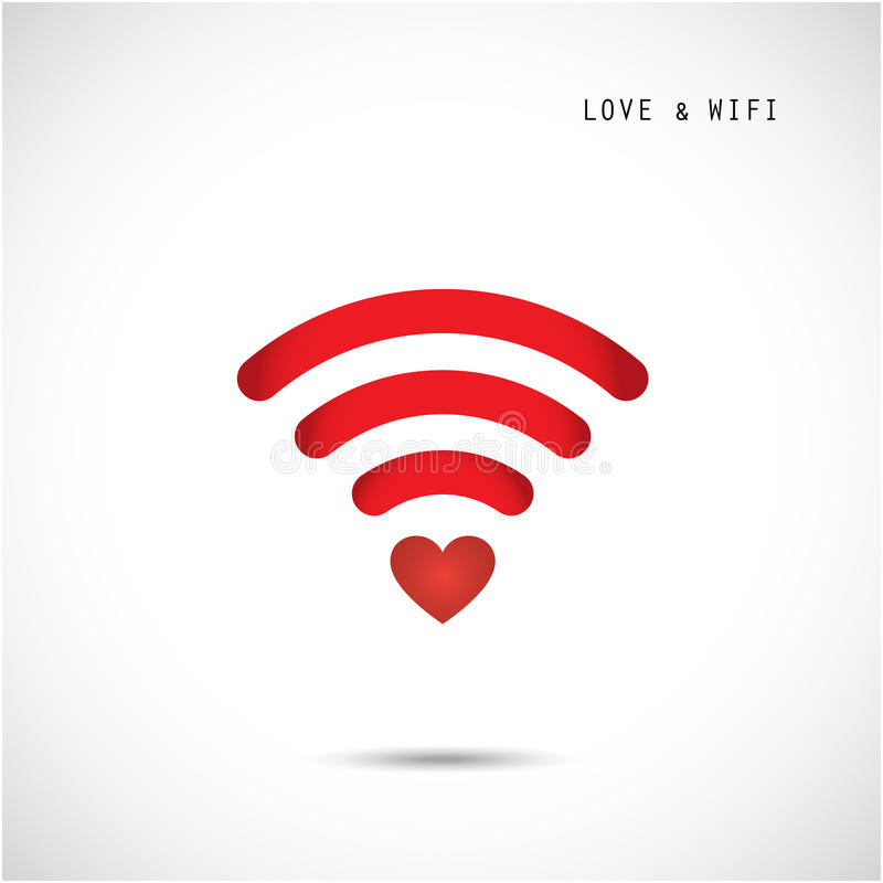Hartvorm en wifiteken De dagachtergrond van de gelukkige valentijnskaart stock illustratie