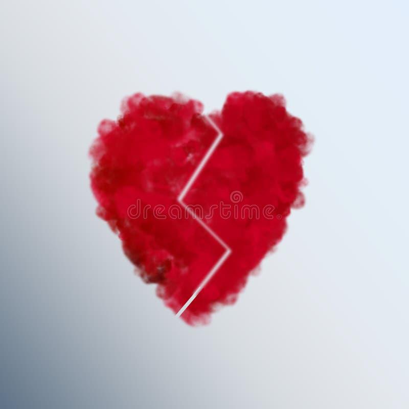 ?hartvorm?, gebroken, emotie stock illustratie