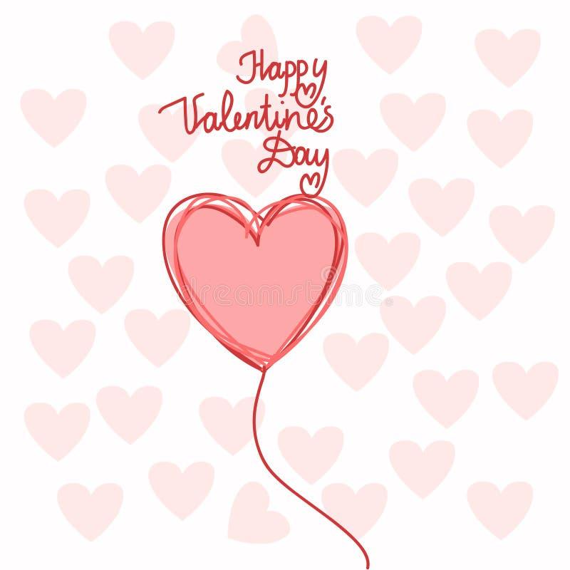 Hartvorm Gelukkig Valentine Day royalty-vrije illustratie
