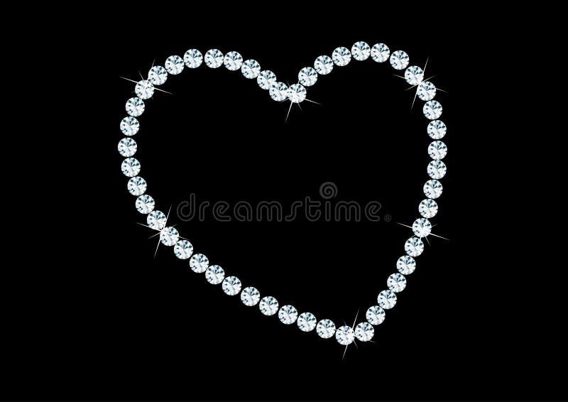 Hartvorm met diamanten vector illustratie