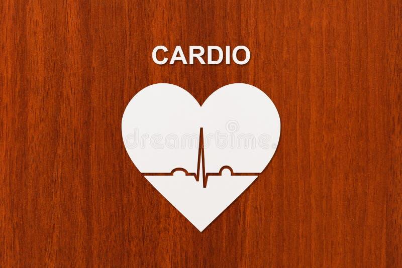Hartvorm met echocardiogram en CARDIOteksten Sport of cardiologieconcept royalty-vrije stock foto