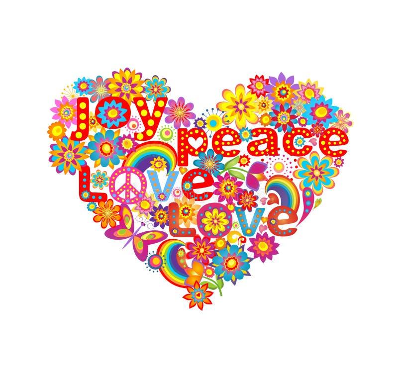 Hartvorm met kleurrijke bloemen en symbolische hippie stock illustratie