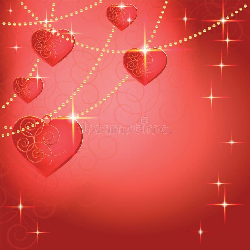 Hartvormen op de abstracte achtergrond van de dag van Valentine stock illustratie