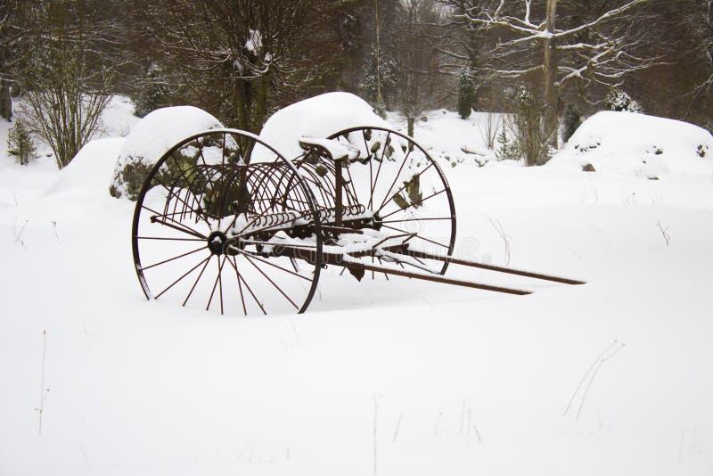Harv i snö royaltyfria bilder