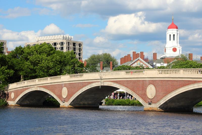 Harvard. Cambridge, Massachusetts in the United States. Famous Harvard University campus with Charles River bridge royalty free stock images