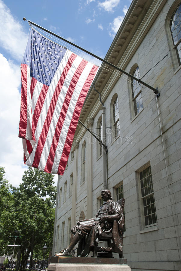 Harvard Monument. The statue of English minister John Harvard after whom Harvard University was named (Cambridge, Massachusetts royalty free stock images