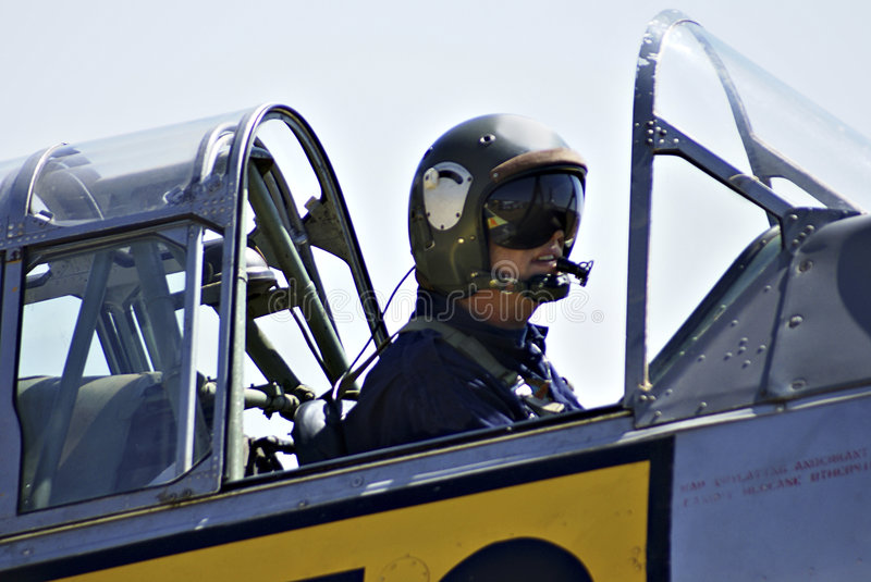 Harvard Pilot. Waring what seems to be an official dog fighters helmet stock photography