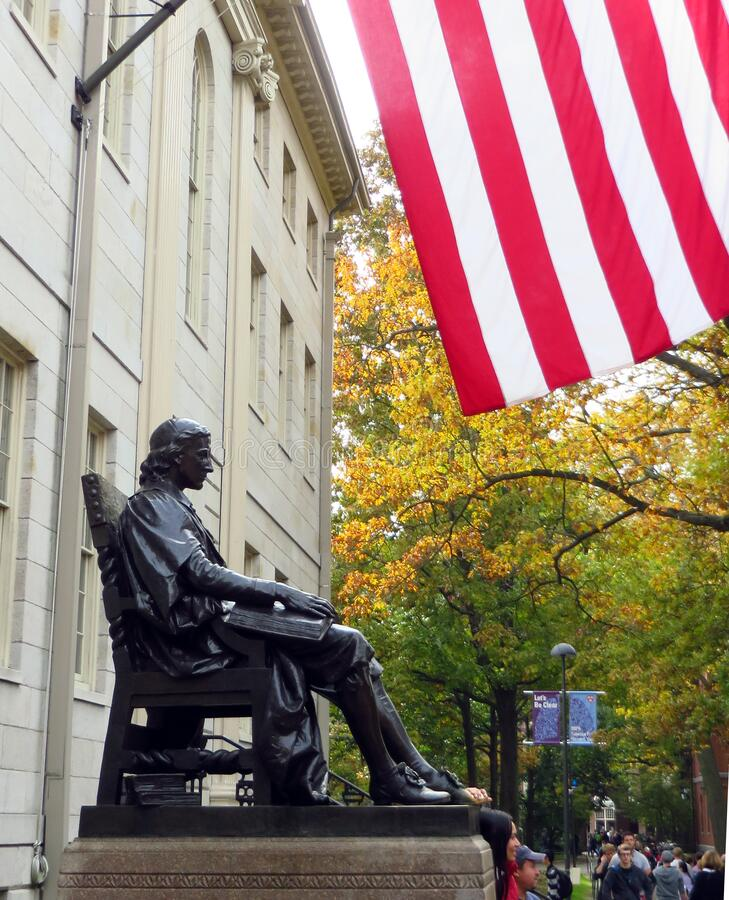 Harvard Statue Flag royalty free stock image