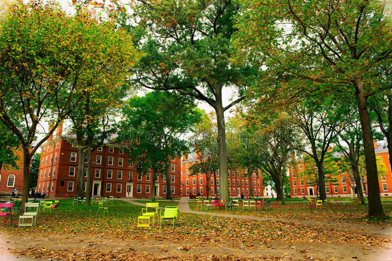 Harvard universitetsområde i nedgången royaltyfri bild