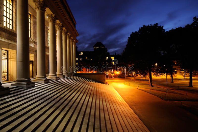 Harvard University campus at night stock image