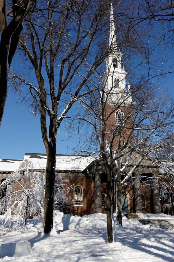 Harvard University's Memorial Church in Winter stock photography