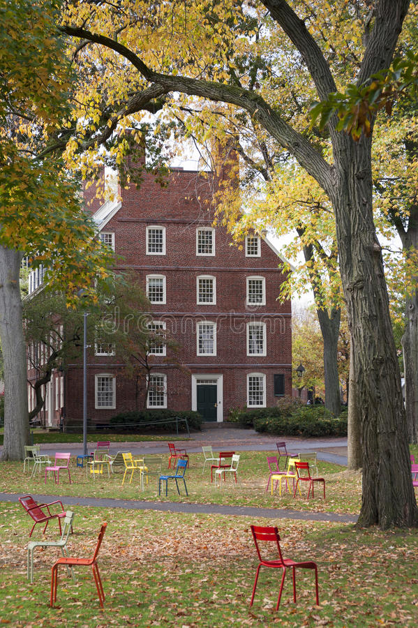 Harvarduniversitetetuniversitetsområde royaltyfri foto