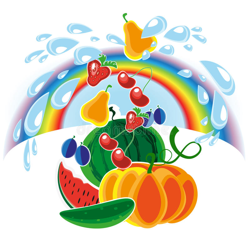 Harvest. Copious irrigation of the soil contributes to a good harvest of vegetables and fruits vector illustration