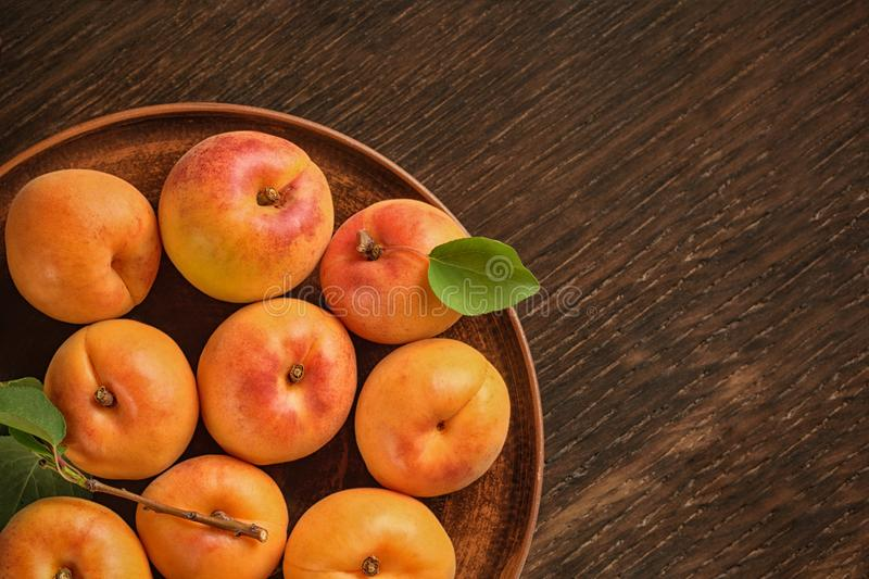 Harvest appetizing apricot. Place for text stock photography