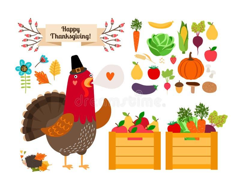 Harvest clip art. Vector fruits, vegetables for stock illustration
